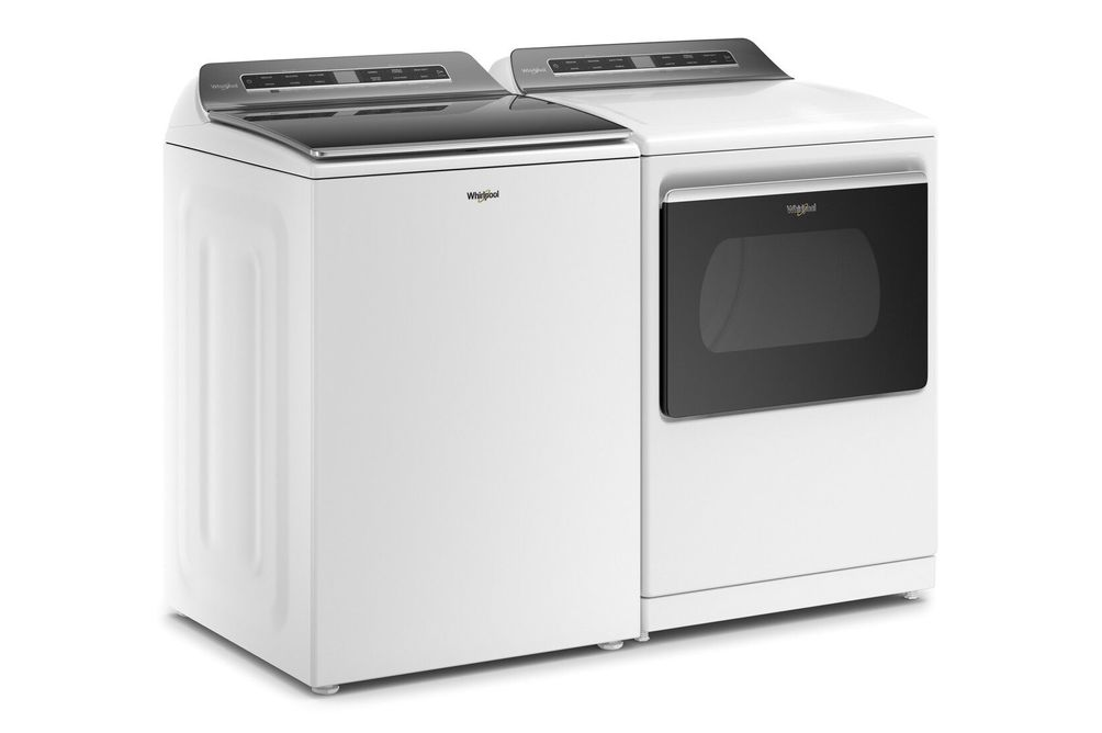 Whirlpool 4.7 Cu.Ft. Top Load Washer and 7.4 Cu. Ft. Electric Dryer - Angle View