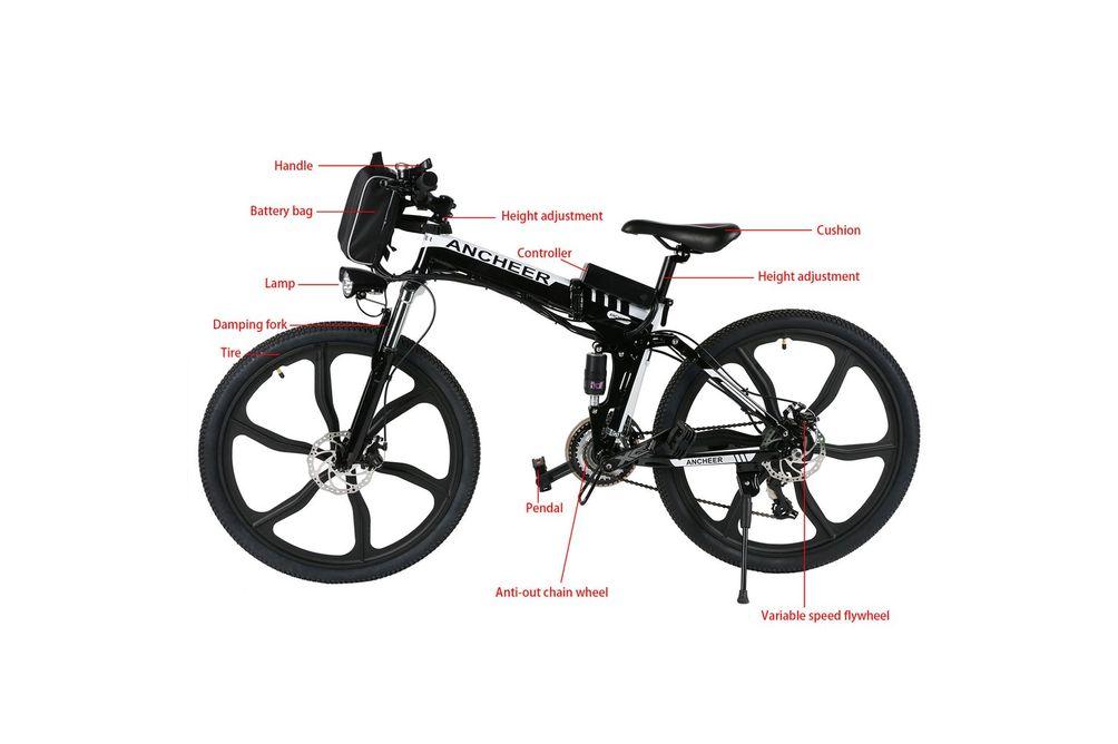 Ancheer 26 inch Wheel Folding Electric Mountain Bike - Bike Features