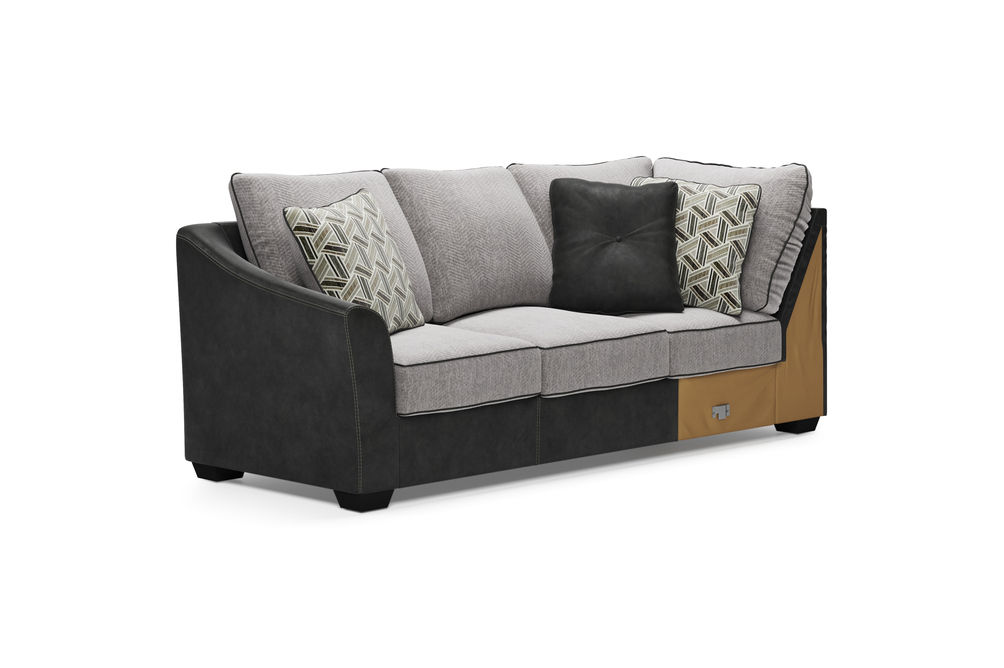 Signature Design by Ashley Bilgray-Pewter 3-Piece Sectional - LAF Sofa with Corner Wedge