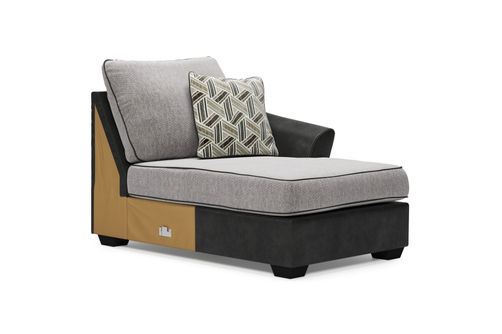 Signature Design by Ashley Bilgray-Pewter 3-Piece Sectional - RAF Corning Chaise