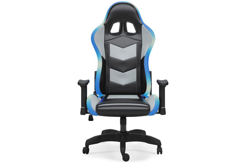 Signature Design by Ashley Lynxtyn Black LED Swivel Home Office Desk Chair