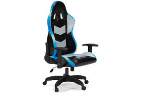 Signature Design by Ashley Lynxtyn Black LED Swivel Home Office Desk Chair - Angled View