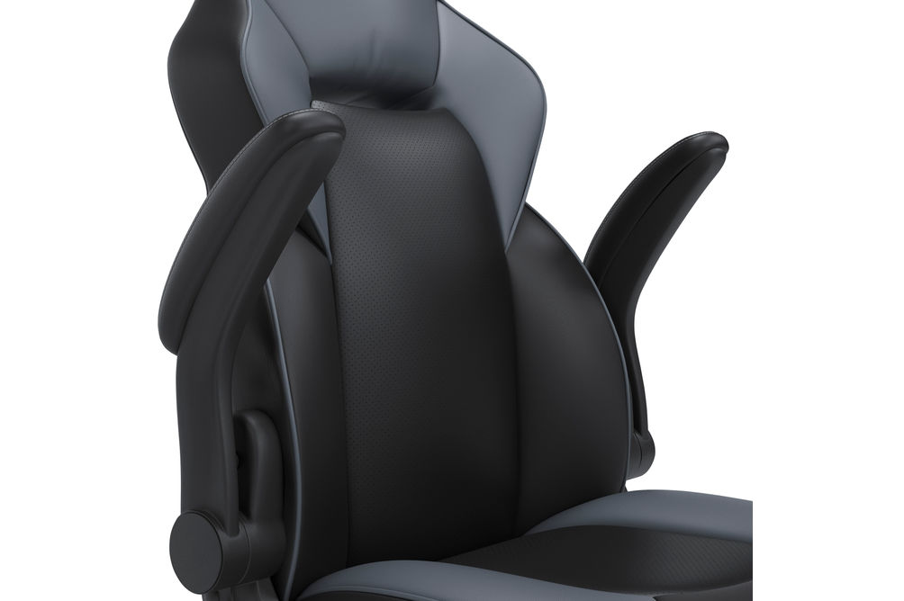 Signature Design by Ashley Lynxtyn Black and Gray Swivel Home Office Desk Chair - Armrest Feature