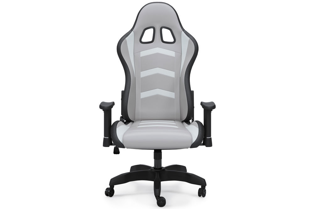 Signature Design by Ashley Lynxtyn White and Gray LED Swivel Home Office Desk Chair