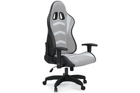 Signature Design by Ashley Lynxtyn White and Gray LED Swivel Home Office Desk Chair - Angled View