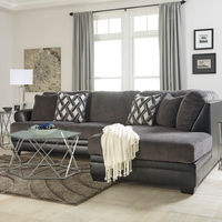 Benchcraft Kumasi-Smoke Sofa Sectional with Chaise - Room View