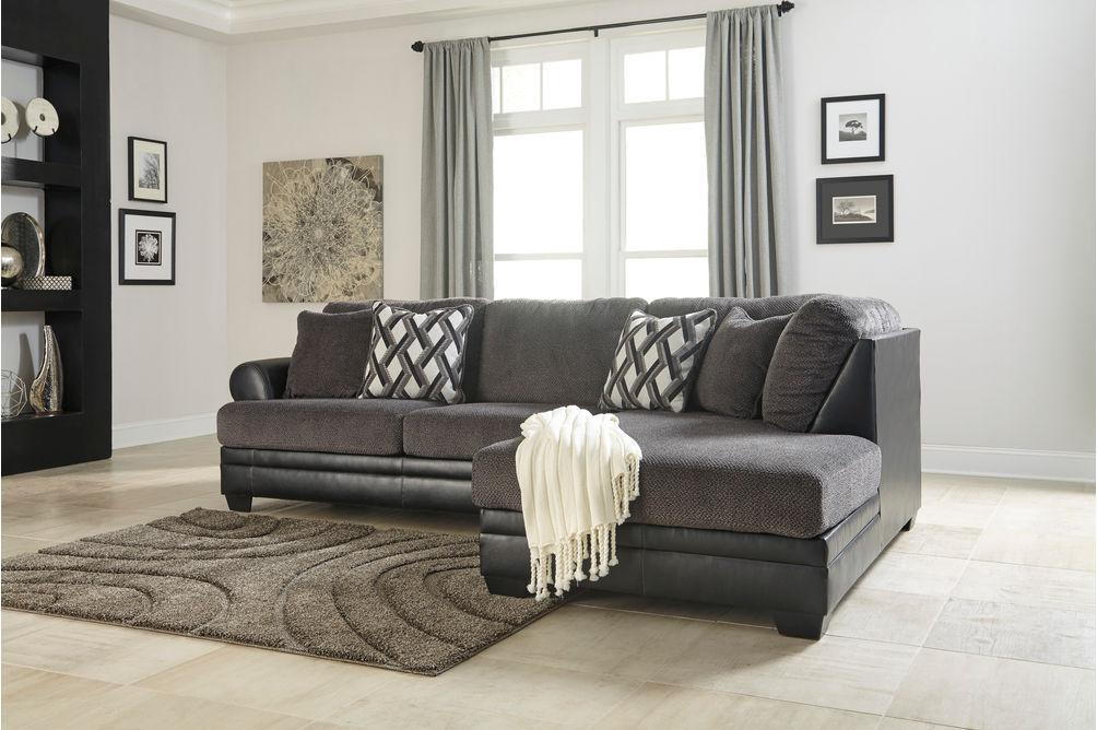 Benchcraft Kumasi-Smoke Sofa Sectional with Chaise - Alternate Image