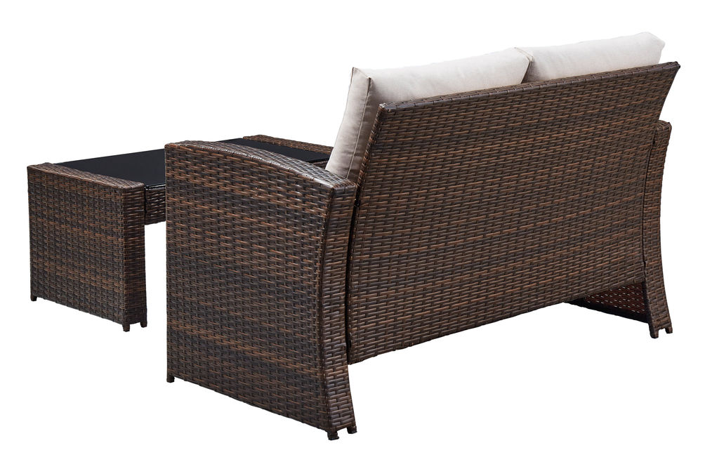 Signature Design by Ashley East Brook 4-Piece Outdoor Furniture Set - Sofa and Table Back View