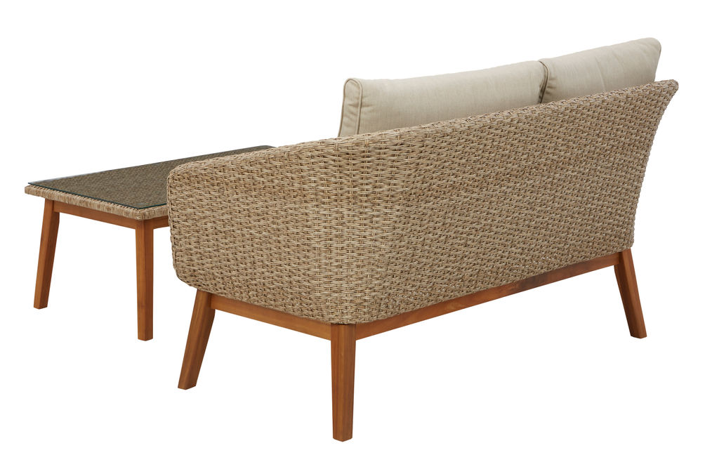 Signature Design by Ashely Crystal Cave - Loveseat and Table Back View
