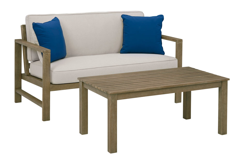 Signature Design by Ashley Fynnegan 4-Piece Outdoor Furniture Set - Loveseat and Table