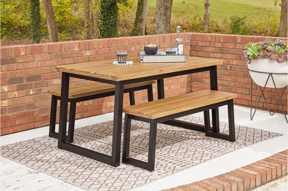 Signature Design by Ashley Town Wood Outdoor Dining Table with Benches - Outdoor View