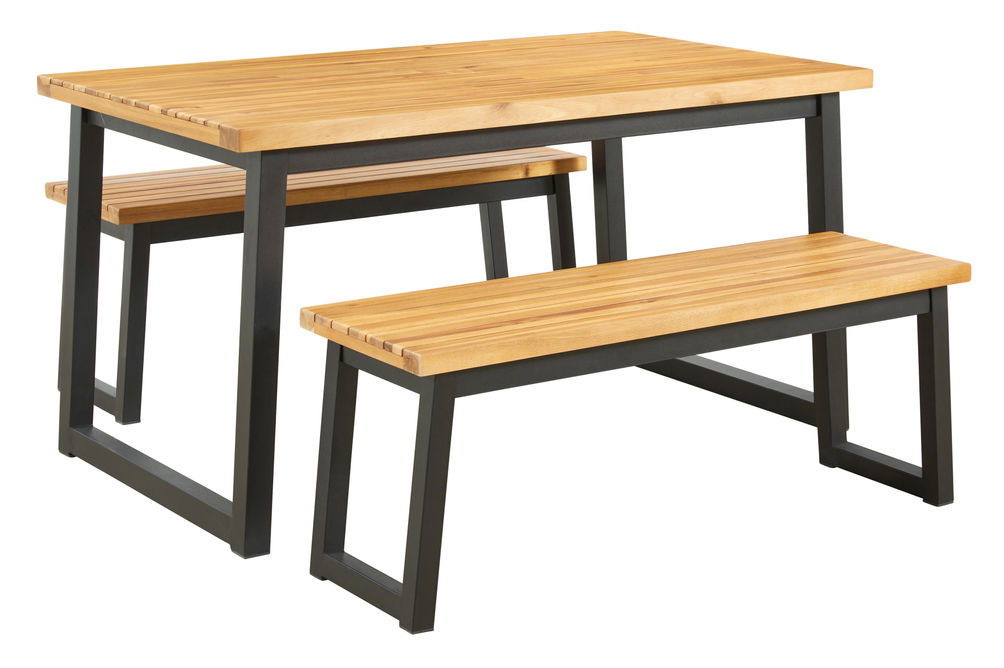 Signature Design by Ashley Town Wood Outdoor Dining Table with Benches