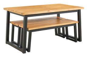 Signature Design by Ashley Town Wood Outdoor Dining Table with Benches - Alternate Image