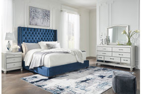 Signature Design by Ashley Coralayne Blue 5-Piece Queen Bedroom Set - Sample Room View