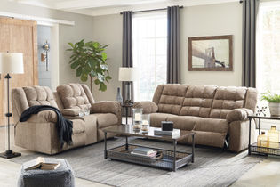 Signature Design by Ashley Workhorse Reclining Sofa and Loveseat - Sample Room View