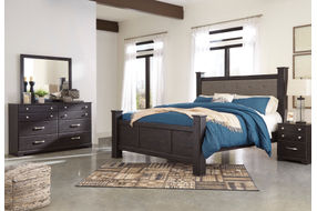 Signature Design by Ashley Reylow 6-Piece King Poster Bedroom Set - Sample Room View
