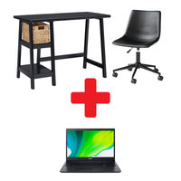 Signature Design by Ashley Mirimyn Office Desk with Chair and Laptop Bundle