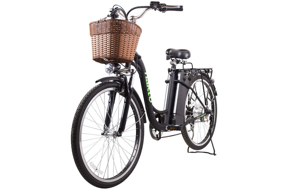 NAKTO Camel Black 26 Inch Women's City Electric Bicycle - Side Angle View
