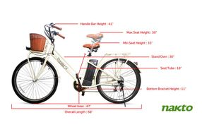 NAKTO 26 Inch City Electric Bicycle Classic - Specs