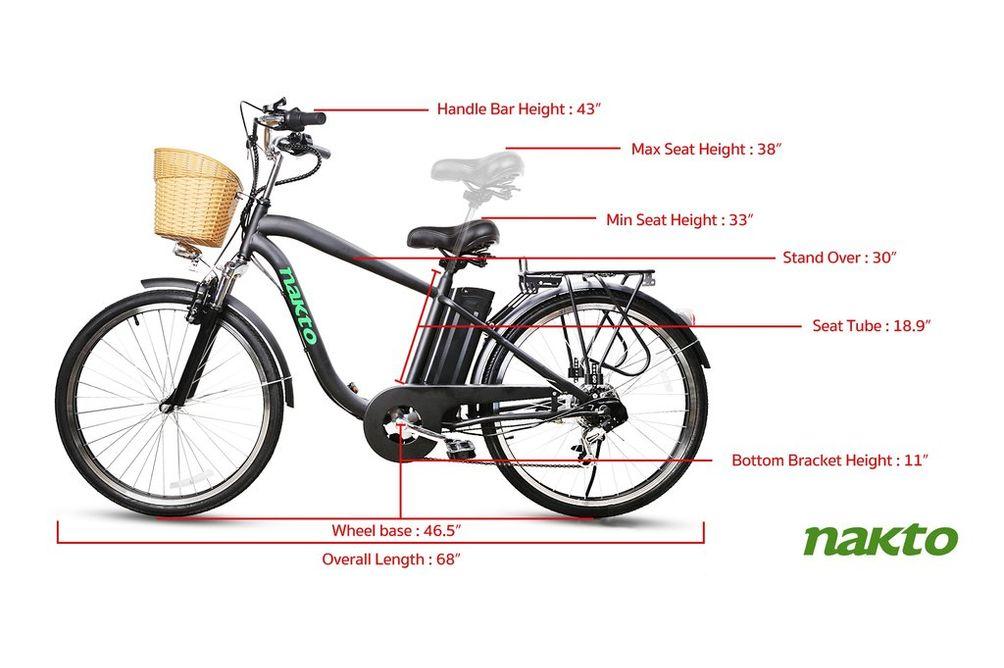 NAKTO Camel Black 26 Inch Men's City Electric Bicycle - Specs