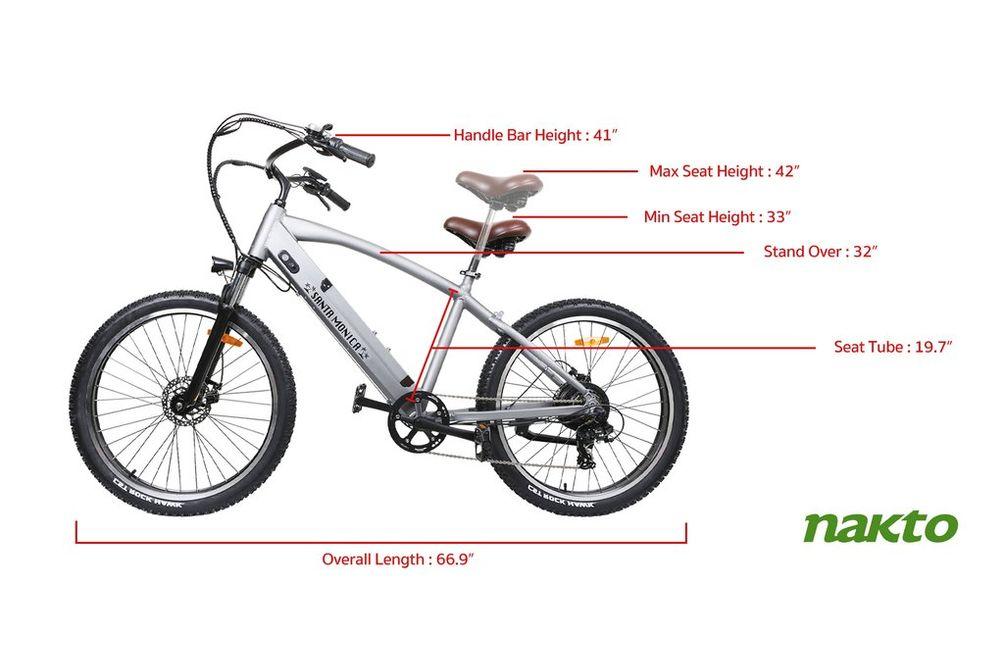NAKTO 26 inch Santa Monica 500W Electric Bicycle - Dimensions