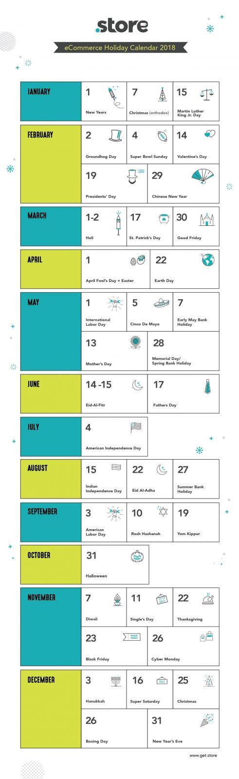 eCommere holiday calendar 2018