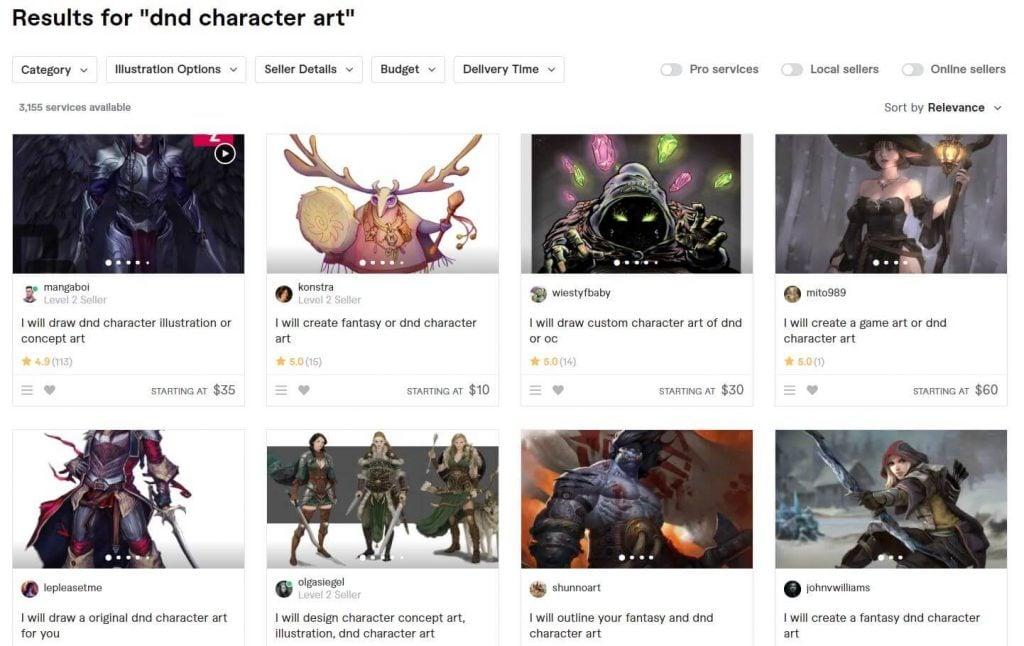 DnD character art Fiverr section