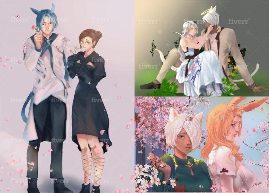 FFXIV couple art commissions