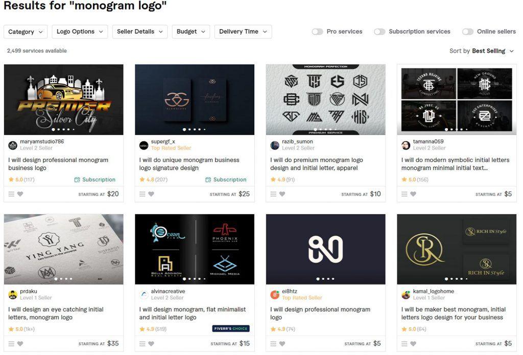 monogram fiverr logos