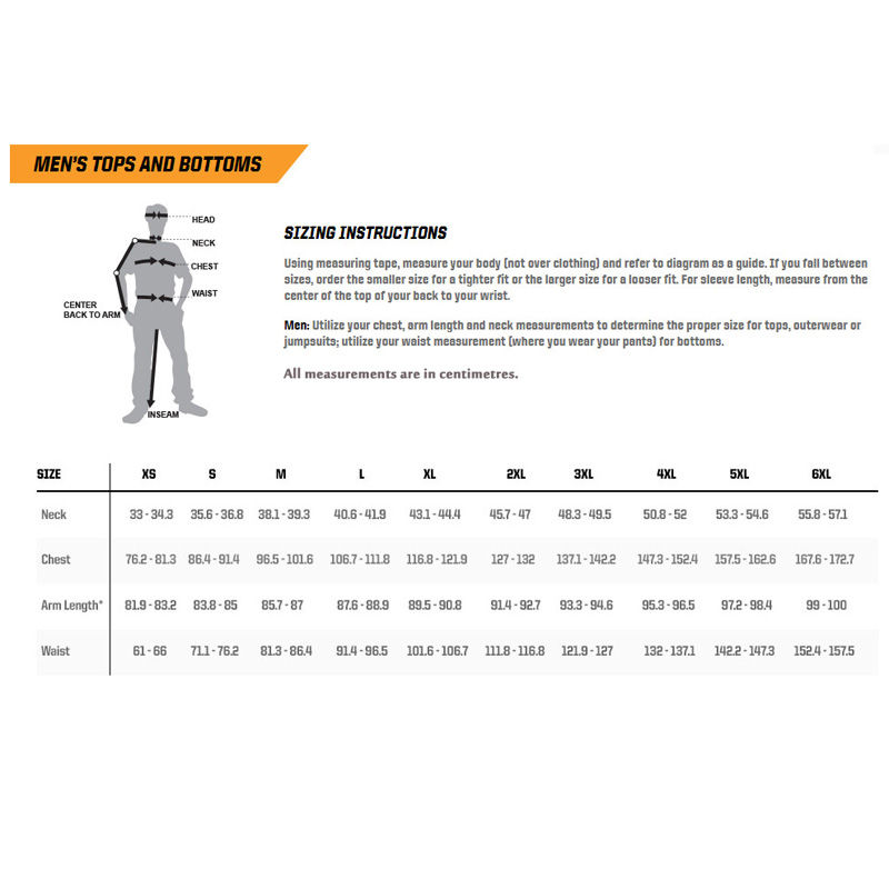 5.11 Tactical Sizing Chart