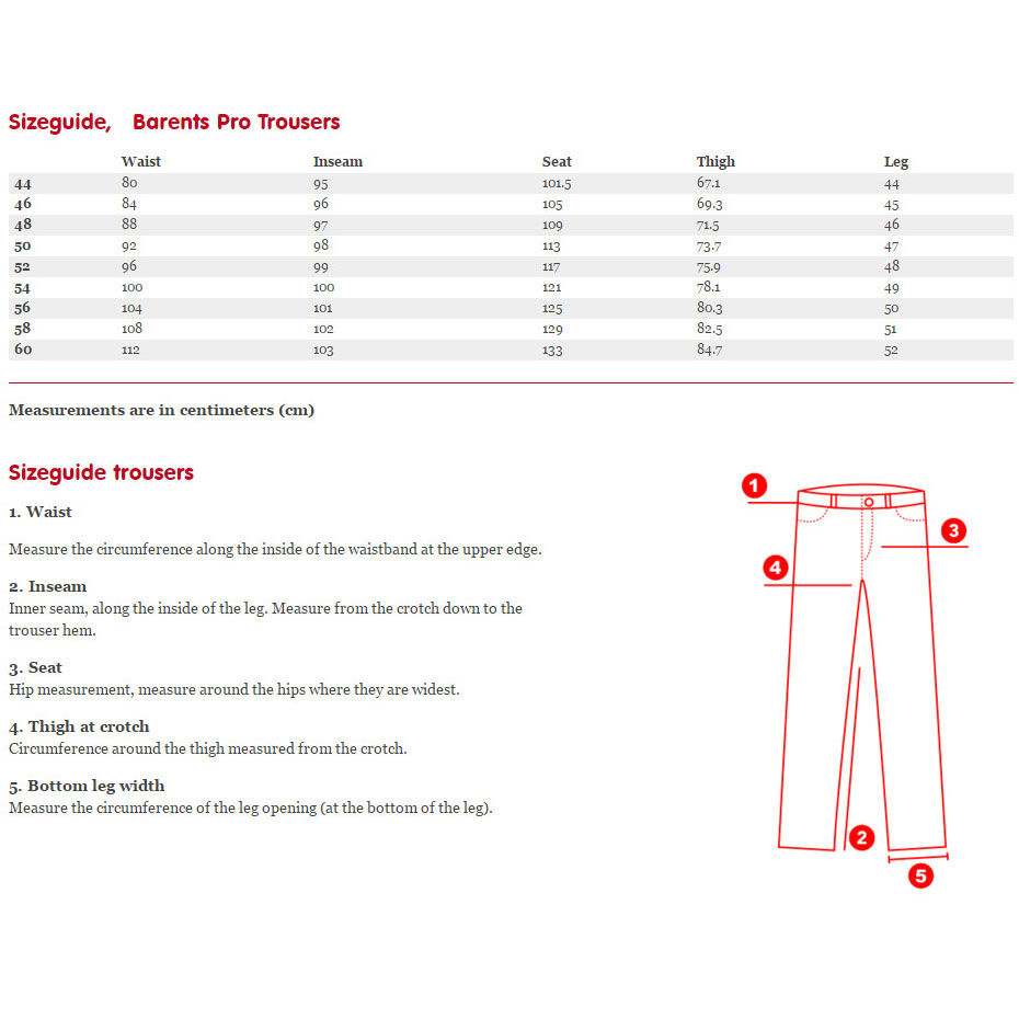 Fjallraven Barents Pro Trousers Sizing Chart