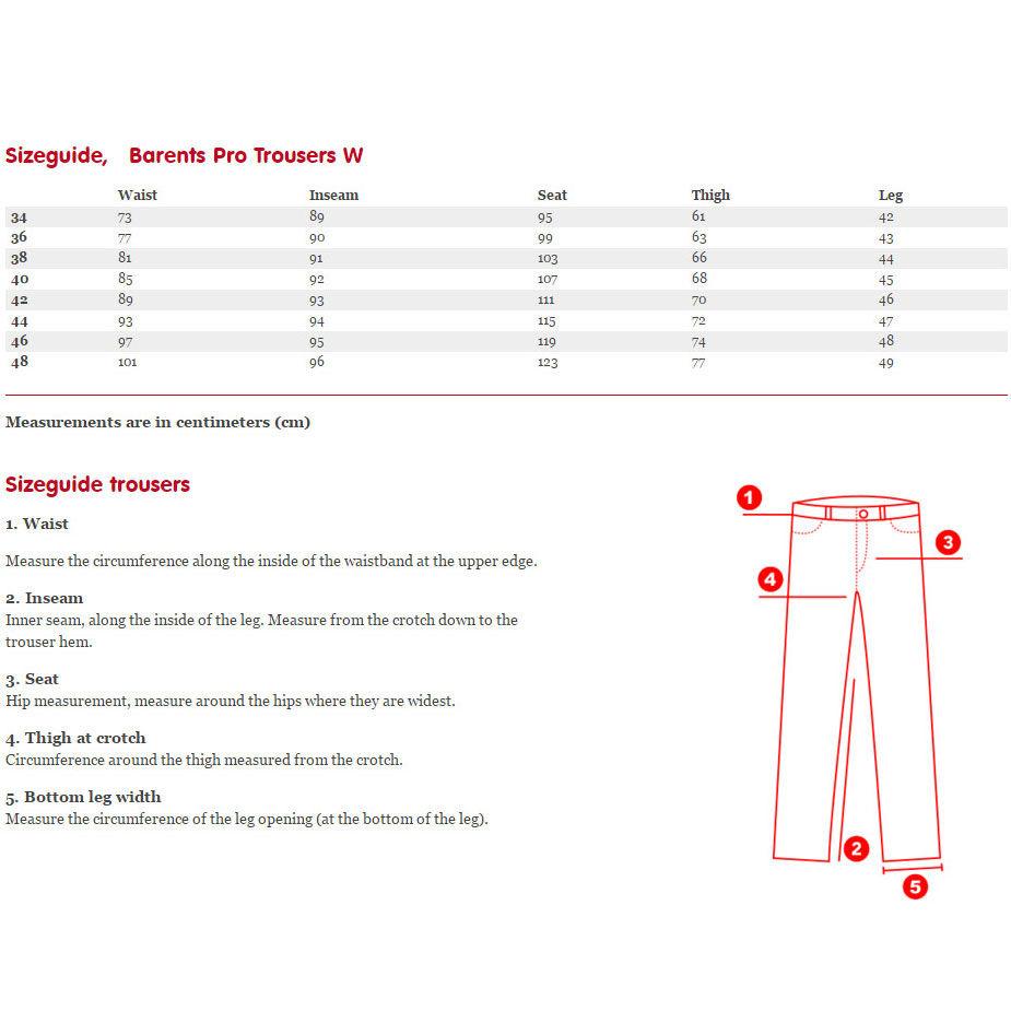 Fjallraven Barents Pro Women's Trousers Sizing Chart