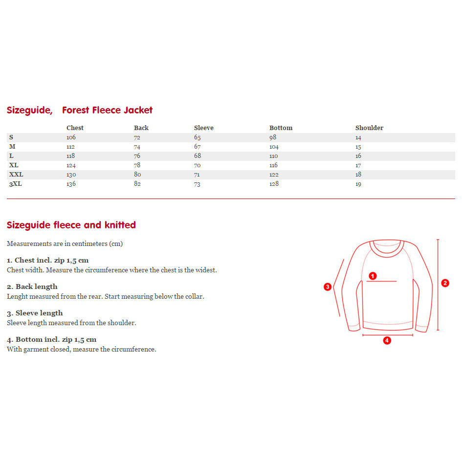 Fjallraven Forest Fleece Jacket Sizing Chart