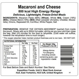 Expedition Foods - Macaroni and Cheese (High Energy Serving) - Pack of 2