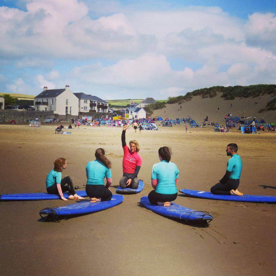 Family surf lesson on Croyde Beach