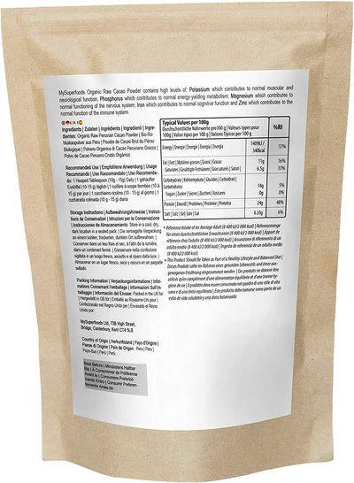Polvo de cacao crudo orgánico