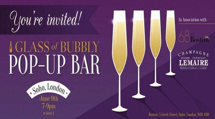 Glass of Bubbly Pop-Up Bar Launches in London - 9th June 2016