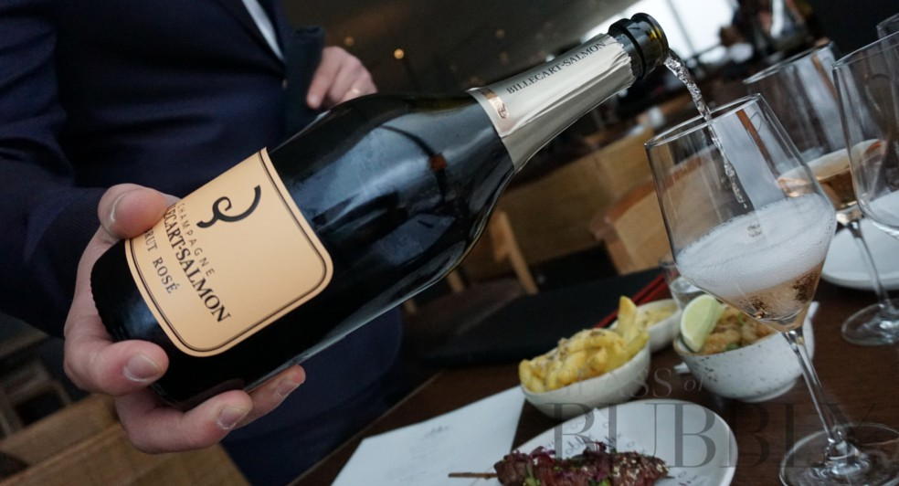 Serving champagne at Oblix at the Shard