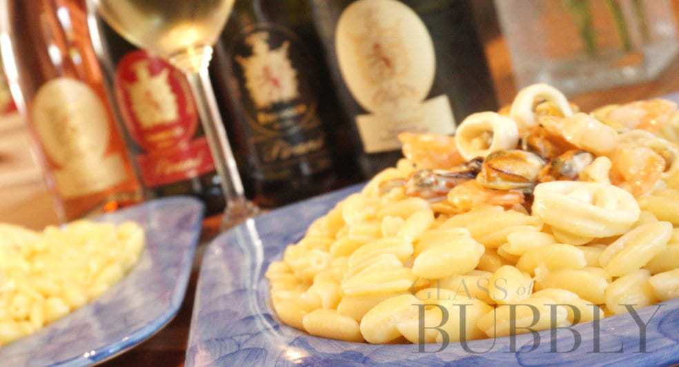 Pirani Prosecco Extra Dry and Pasta Agnesi dish