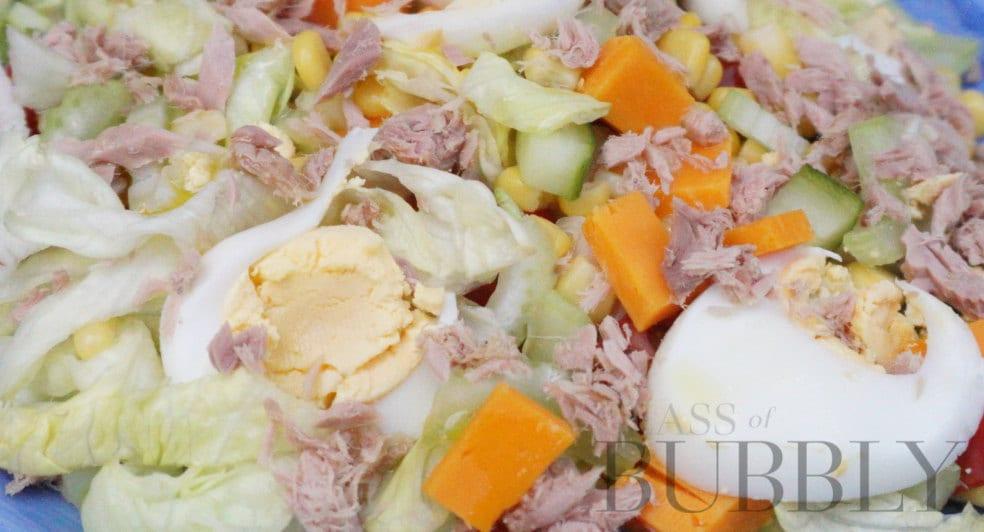 Hard boiled egg salad and sparkling wine