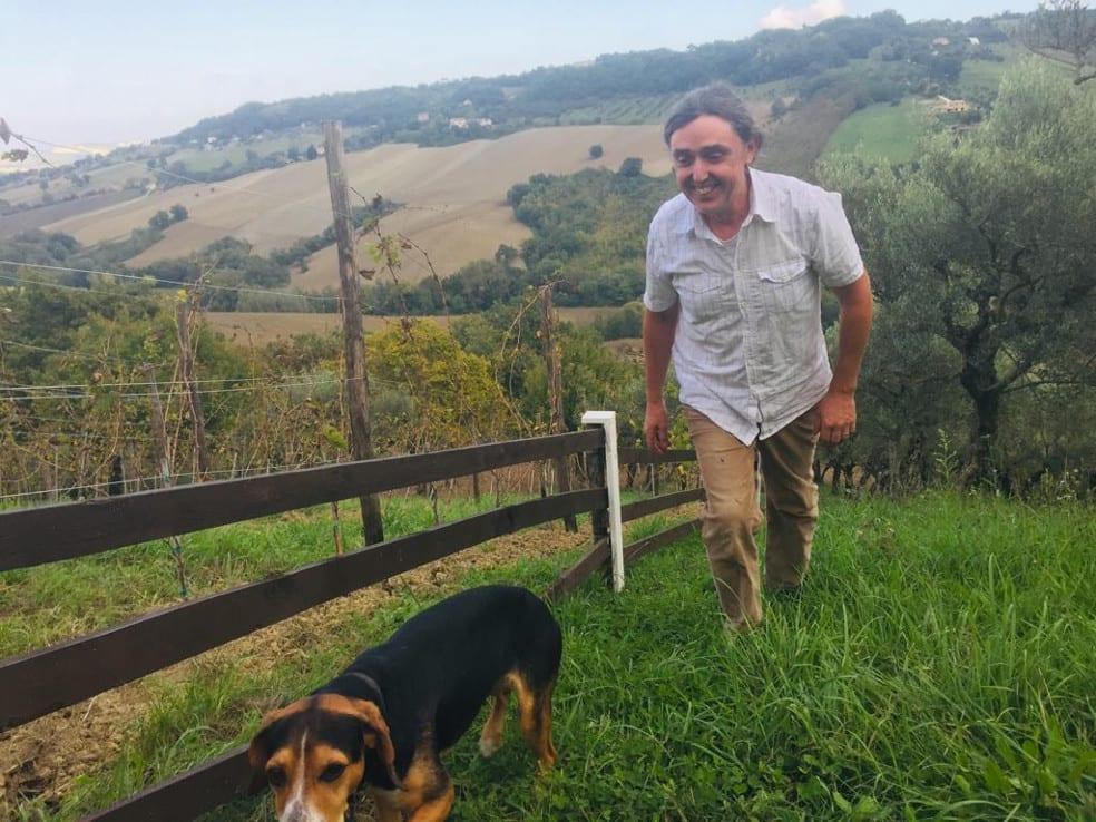 Graham Herbert taking a walk in his vineyard