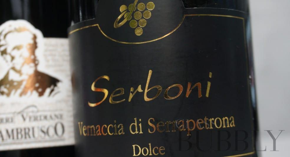 Serboni Vernaccia di Serrapetrona Dolce red sparkling wine