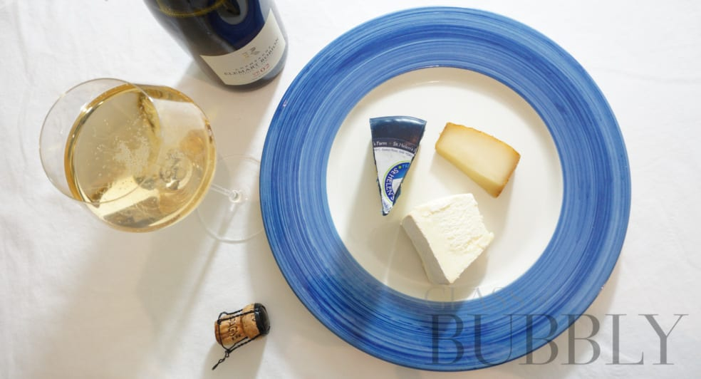 Champagne Elemart Robion VB02 Extra Brut with cheeses