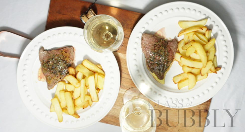 Champagne Launois Mono Chrome with Steak and Chips pairing