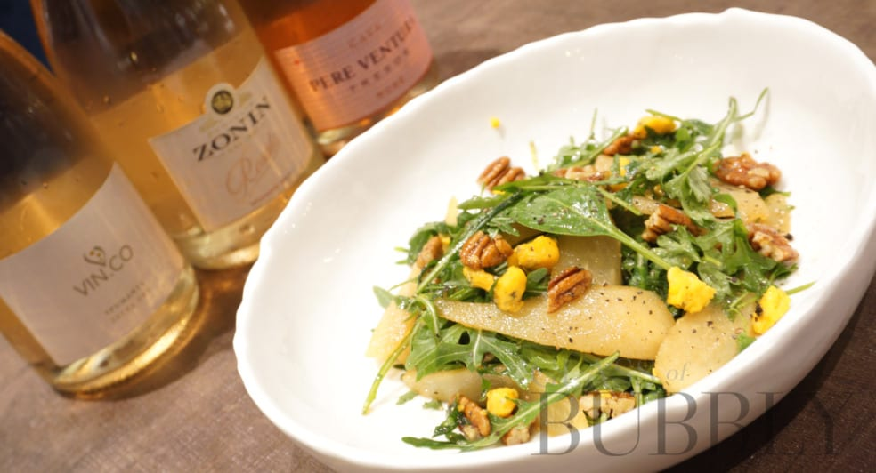 Pear Salad and Sparkling Wine