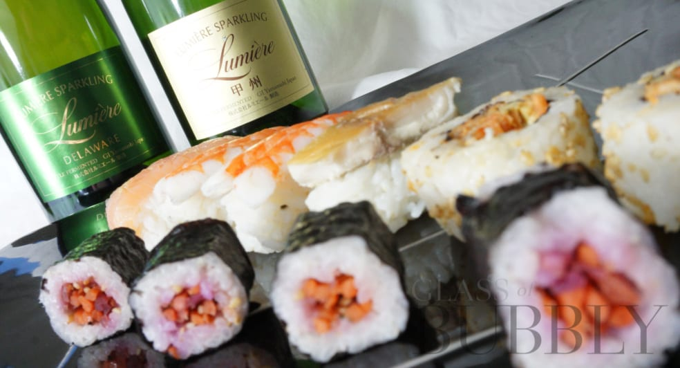 Japan sparkling wine Lumiera and Sushi