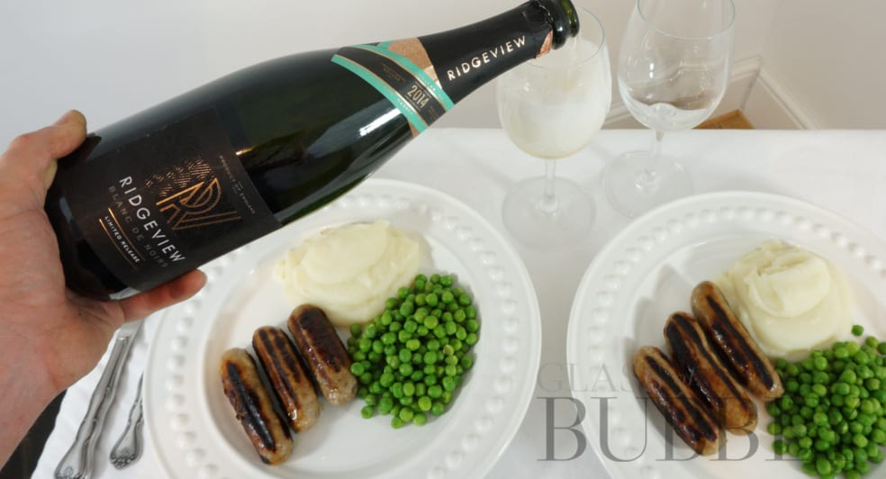Bangers and Mash with English Sparkling Wine Ridgeview