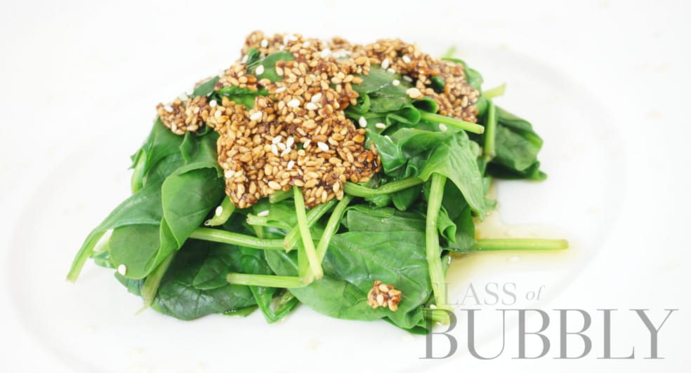 Steamed Spinach with roasted sesame seed dressing