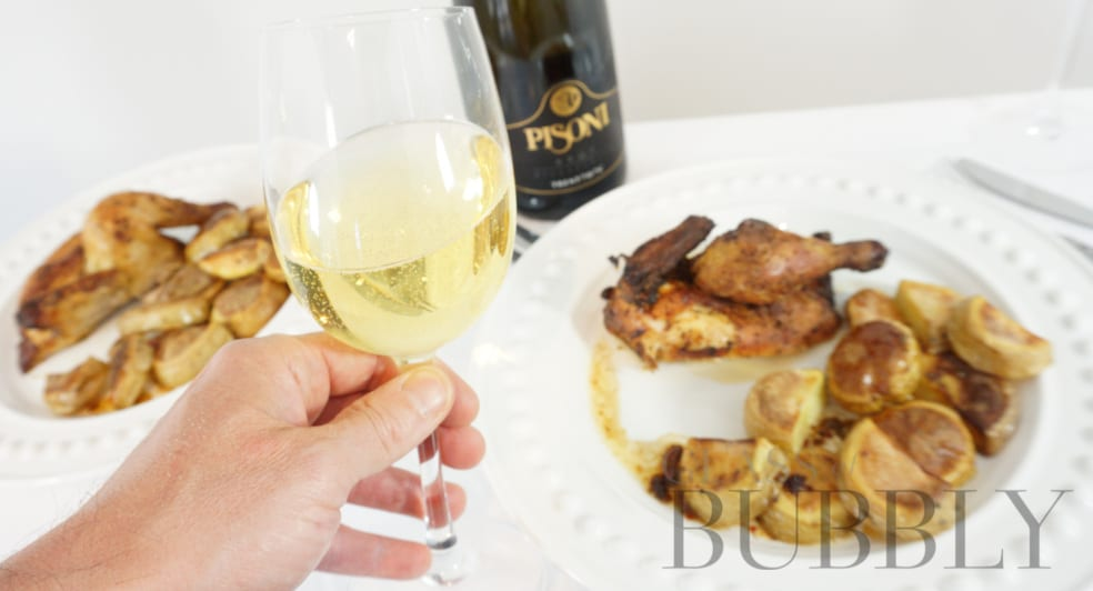 Pisoni Brut Millesimato with Poussin from Gressingham