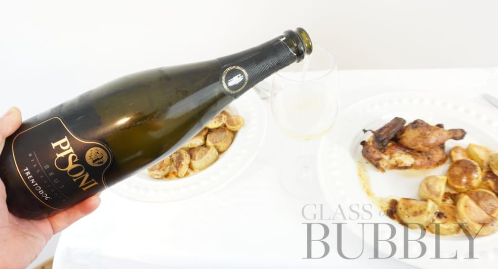 Pouring Pisoni Trentodoc sparkling wine